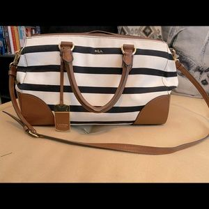 Lauren by Ralph Lauren B&W Striped Satchel Bag